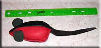 A red and black leather mouse measures almost 1 foot nose to tail.